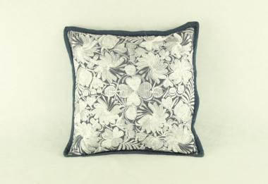 Blumenkissen silber, 45 x 45 cm