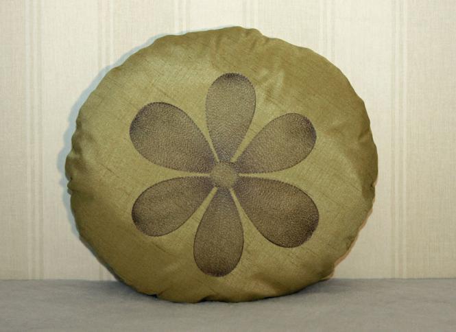 Kissen Blume dunkelgrün 38 cm