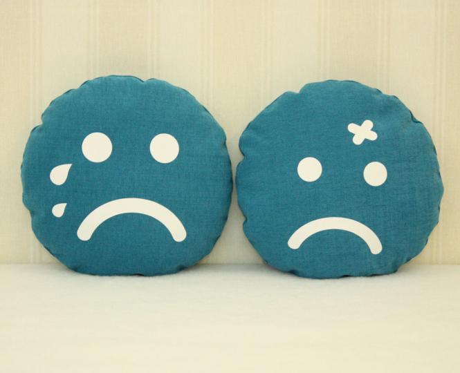Smiley Kissen blau 35 cm